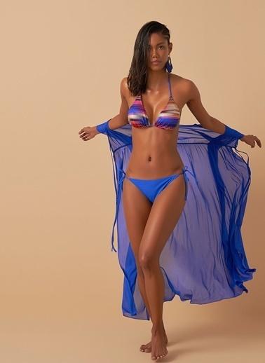 Loves You Renk Bloklu Üçgen Bikini Takım Saks